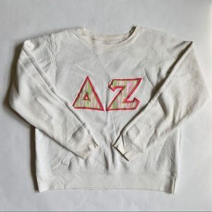 Vintage White, Pink and Green Delta Zeta Crew Neck
